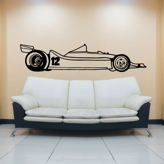 Number 12 Race Car Drawing Decal