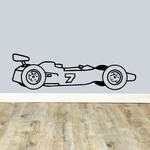 Number 7 Race Car Drawing Decal