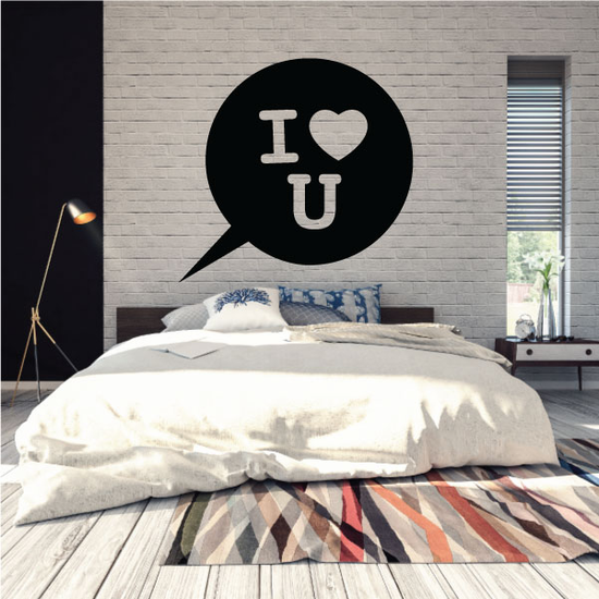Bubble Valentines Day I Love you Text Decal