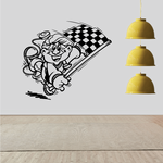 Kid With Checkered Flag Cartoon Decal