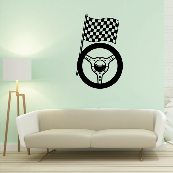 Checkered Flag And Wheel Decal