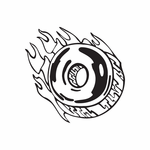 Flaming Donut Decal