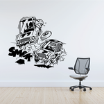 Racing Crash Cartoon Decal