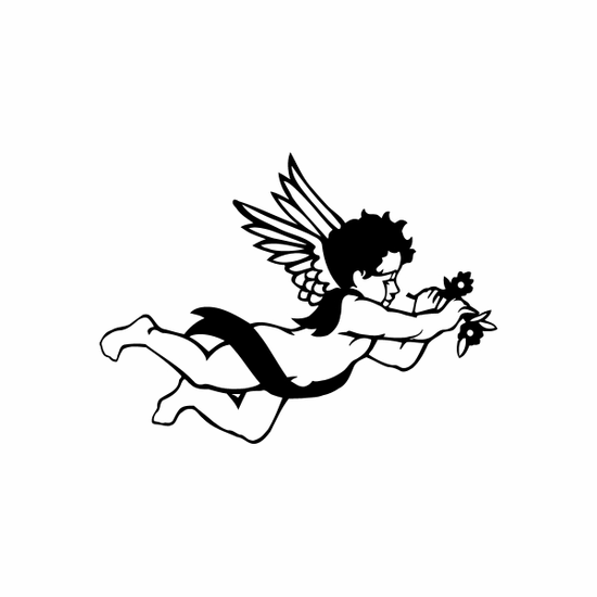 Cupid Flying with Flowers Decal