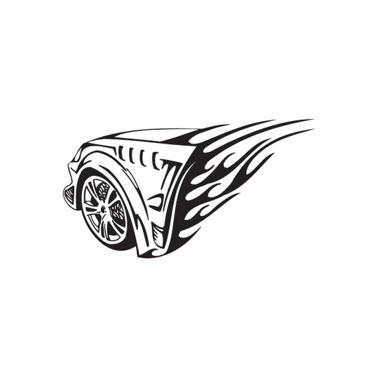 Import Car Front Fender Flames Decal