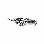 Classic Mustang Front End In Flames Decal