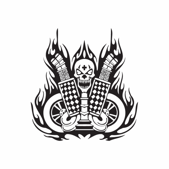 Dual Exhaust Skull Flames Decal