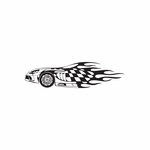 Race Car Checkered Flames Decal