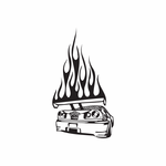 Skyline Wing In Flames Decal