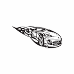 Viper Race Car In Flames Decal
