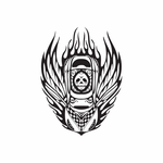 Top View Car Flames Decal
