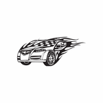 Chevy Sports Car Flames Decal
