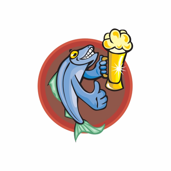 Fish Giving Thumbs Up Drinking Beer Sticker