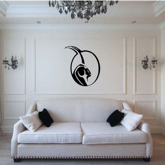 Abstract Ram Head in Circle Frame Decal