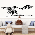 Mountain and Running Horse and Shadow Decal