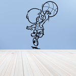Basketball Young Boy Ball Toss Decal