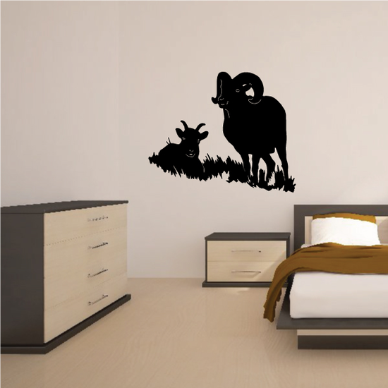 Ram and Calf on Grass Decal