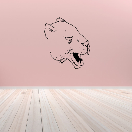 Wild Cat Head Snarling Decal