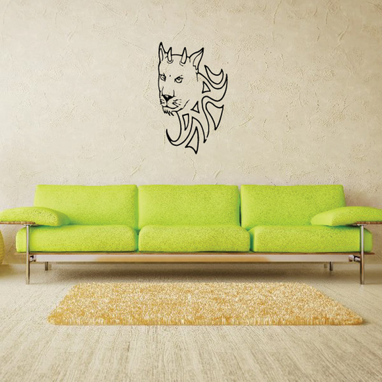 Horned Wild Cat Head Decal