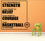 Strength Belief Courage Basketball Quote Wall Decal