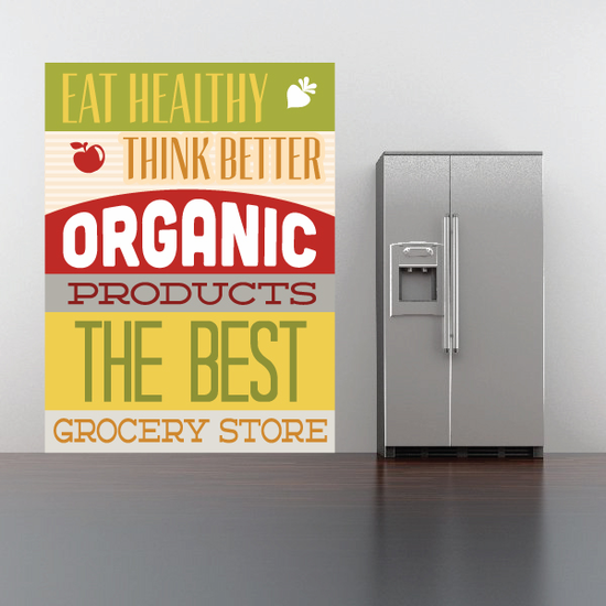 Eat Healthy Think Better Organic products Sticker