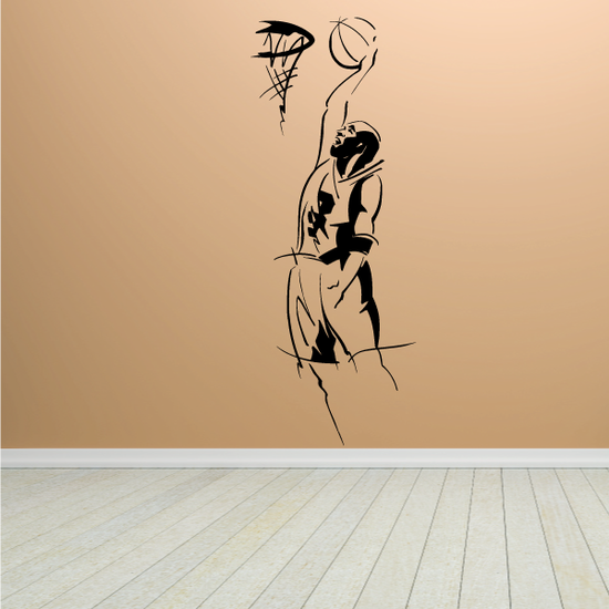 Basketball Expressive Lines Player Dunking in Hoop Decal