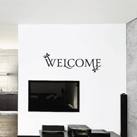 Welcome with Leaves Wall Decal