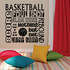 Dribble Rebound Shoot Score Basketball Word Collage Wall Decal
