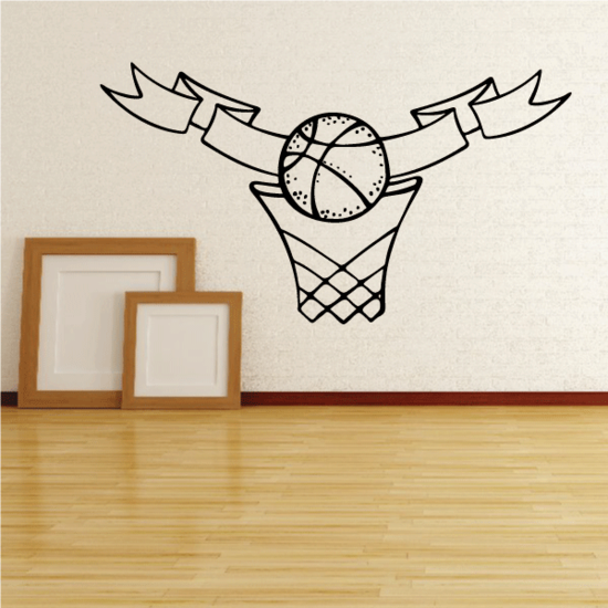 Basketball in Hoop Framing Banner Decal