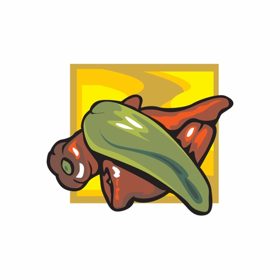 Green and Red Peppers Sticker