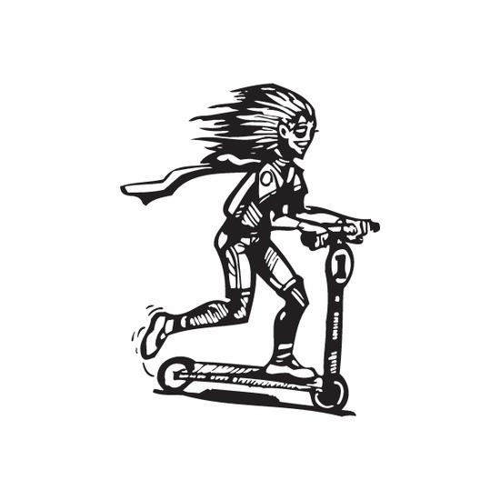 Girl Riding Kids Scooter Decal