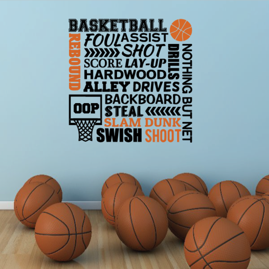 Basketball Foul Assist Shot Score Text Decal
