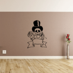 Skull Top Hat  Rose Banner Wall Decal - Vinyl Decal - Car Decal - CF314