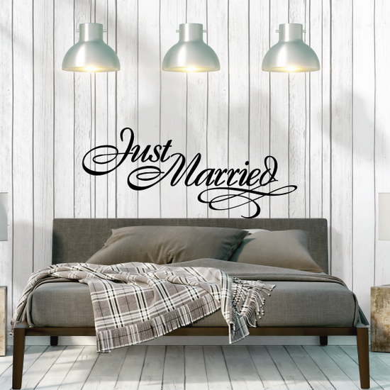 Just Married Swirls Decal