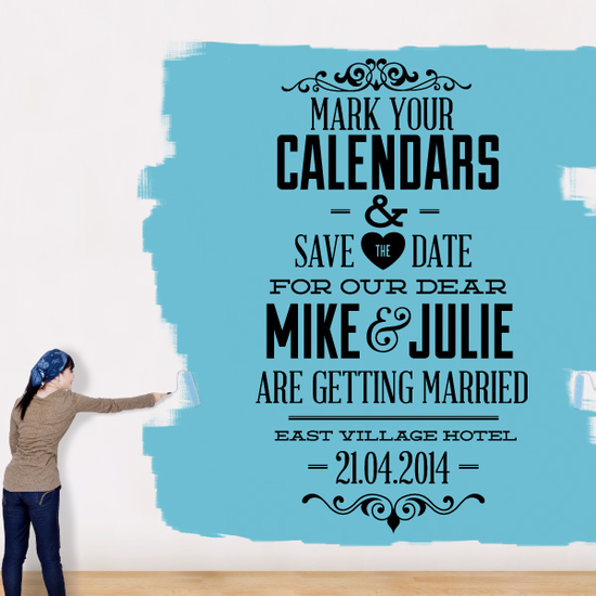 Mark You Calendars & Save The Date For Custom Name Wedding Decal