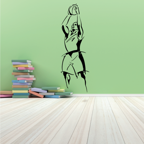 Basketball Ball Toss Action Pose Decal