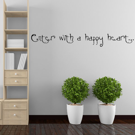 Enter with a happy heart Wall Decal