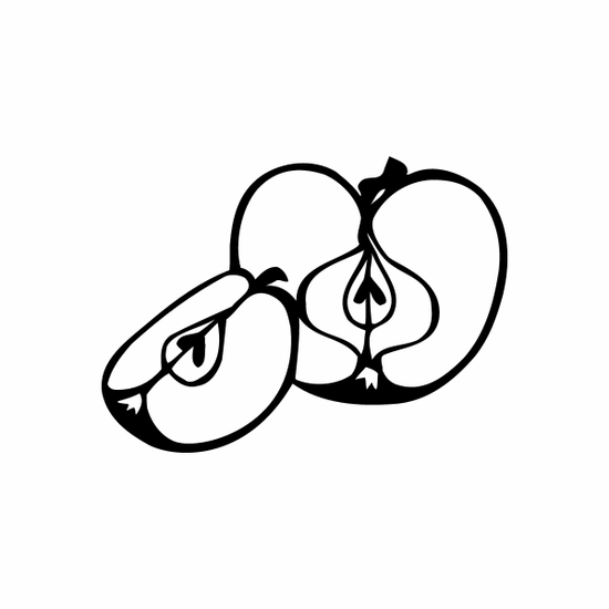 Sliced Apple and Seeds Decal