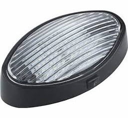 Black LED Oval Porch Light with On/Off Switch with Clear & Amber Lenses