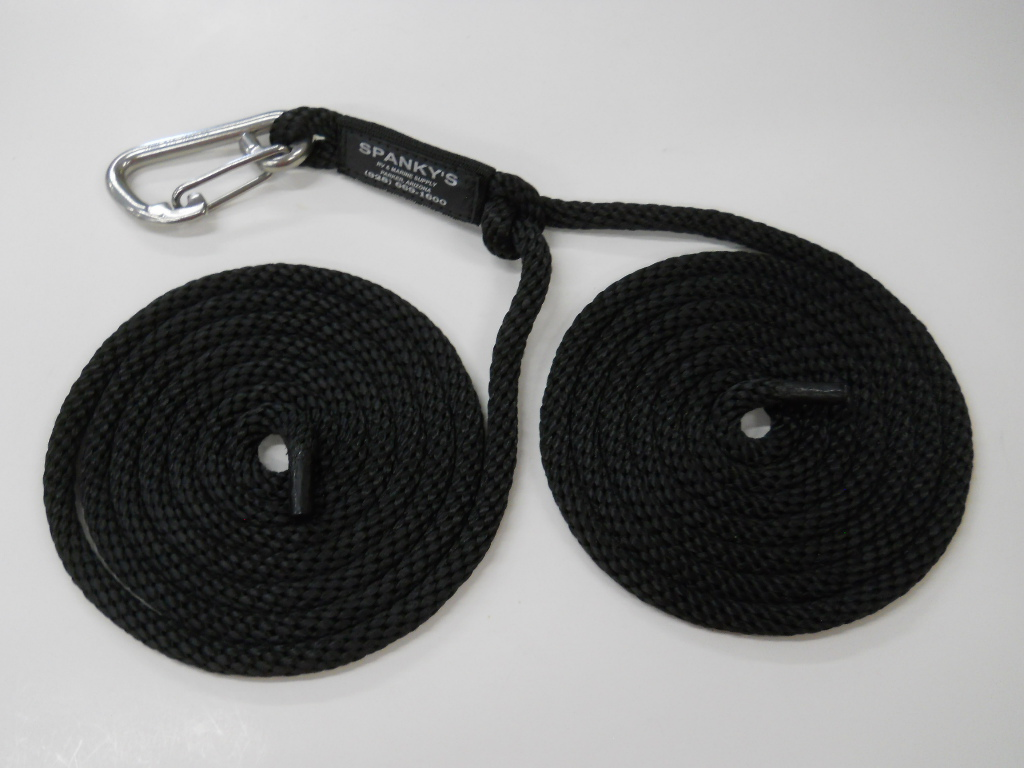 """16ft Spring Tie with 4"""" clip-Black"""
