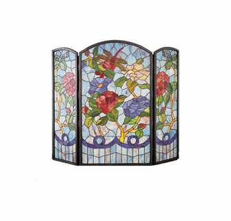 Dragonfly Flowers Stained Glass Fireplace Screen