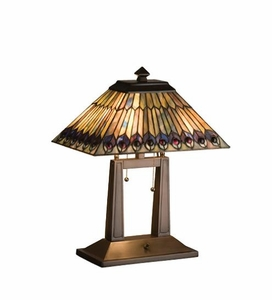 Jeweled Peacock Table Lamp