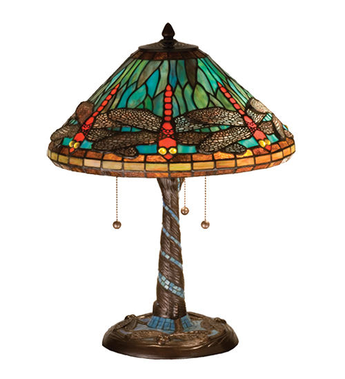 Dragonfly Table Lamp with Twisted Mosaic Base