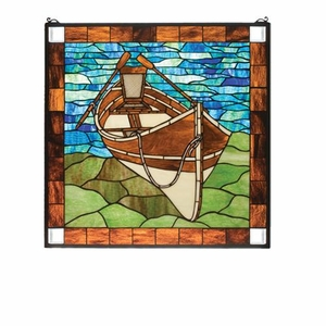 Beached Guideboat Art Glass Window