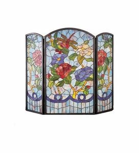 Dragonfly & Flowers Stained Glass Fireplace Screen
