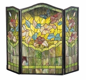 Butterfly in Flowers Stained Glass Fireplace Screen
