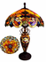 Amber/Bronze Double-Lit Carousel Table Lamp