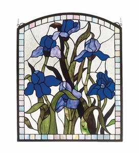 Arched Iris Stained Glass Window