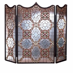 3-Panel Victorian Lace Beveled Fireplace Screen