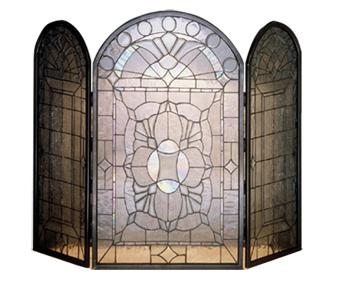 3-Panel Clear Beveled Fireplace Screen